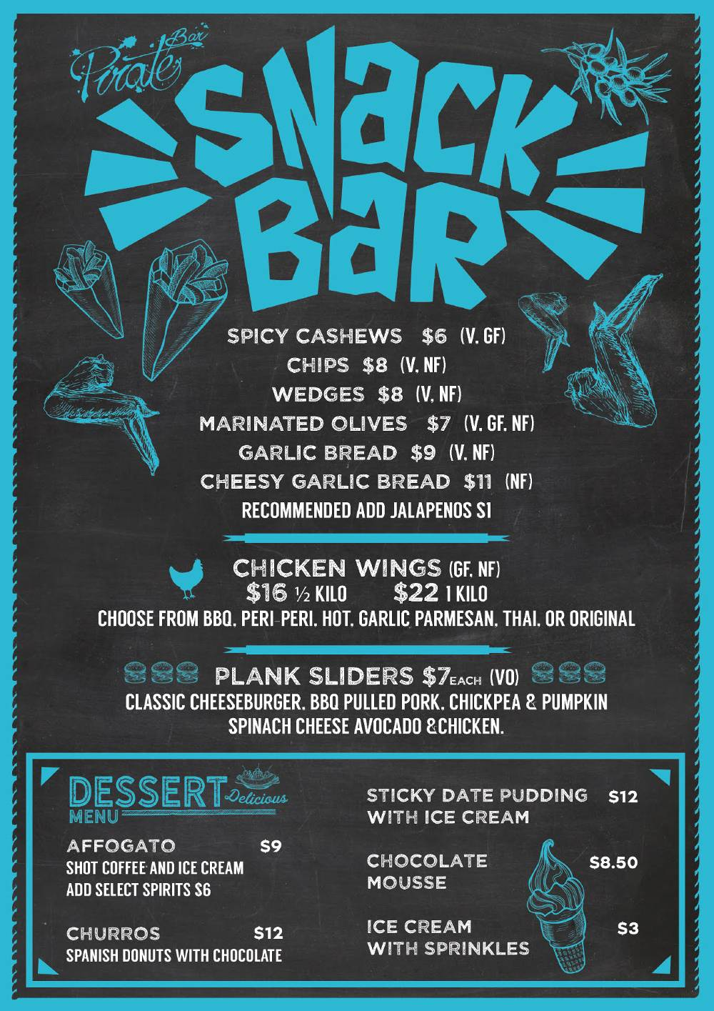 Snackbar-PirateBar-Menu